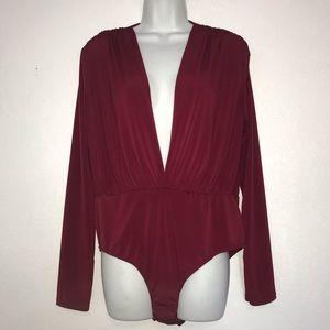 New Look Deep Plunge Front Burgundy Bodysuit Top